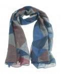 Pañuelo foulard de cuello tacto suave diseño clasico color azul dibujo cuadros regalo moda mujer. Medidas: 180x90 cm.