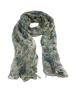 Bufanda foulard bàsic color blau estampat amb flors complement per a la teva look regal original funcional moda dona