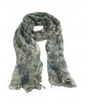 Pañuelo foulard de cuello tacto suave diseño básico color azul estampado flores regalo moda mujer. Medidas: 180x80 cm.