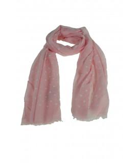 Pañuelo foulard de cuello tacto suave diseño estampado flores color rosa para regalo moda mujer. Medidas: 180x65 cm.