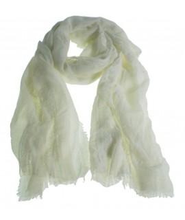 Pañuelo foulard de cuello tacto suave color blanco para regalo moda mujer. Medidas: 180x80 cm.