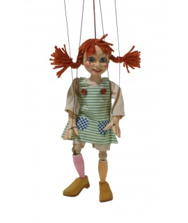 Marioneta de cuerda Pipi Calzaslargas. Medidas: 31 cm.