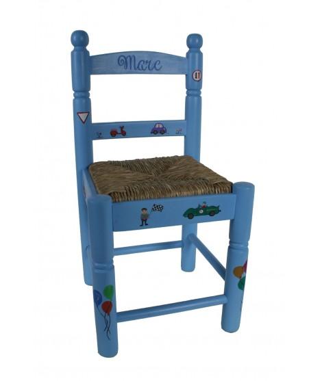 Silla personalizada con tu nombre color y dibujos de madera asiento anea para niños niñas regalo para bautizo aniversario