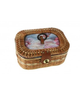 Costurero de mimbre ovalado con tapa tapizada