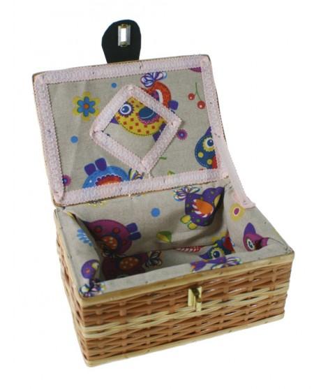 Costurero cesta mimbre pequeño con asa costura bordado para almacenaje