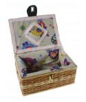 Costurero de mimbre pequeño con asa color miel para accesorios cesto costura y bordado. Medidas: 11x22x16 cm.