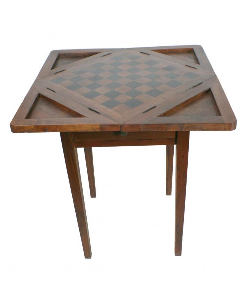 Mesa de madera de acacia para juego de ajedrez