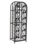 Botellero vertical de metal con puerta decoración racimos y cerrojo mueble auxiliar estilo rustico. Medidas: 121x41x37 cm.