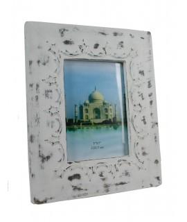 Marco para foto de madera color blanco ligeramente envejecido