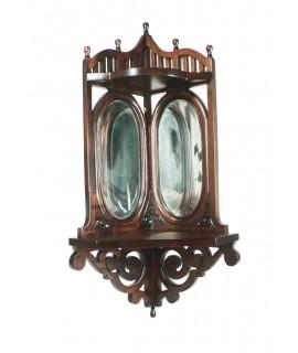 Support d'angle avec miroirs biseautés et bois d'acajou avec sculpture