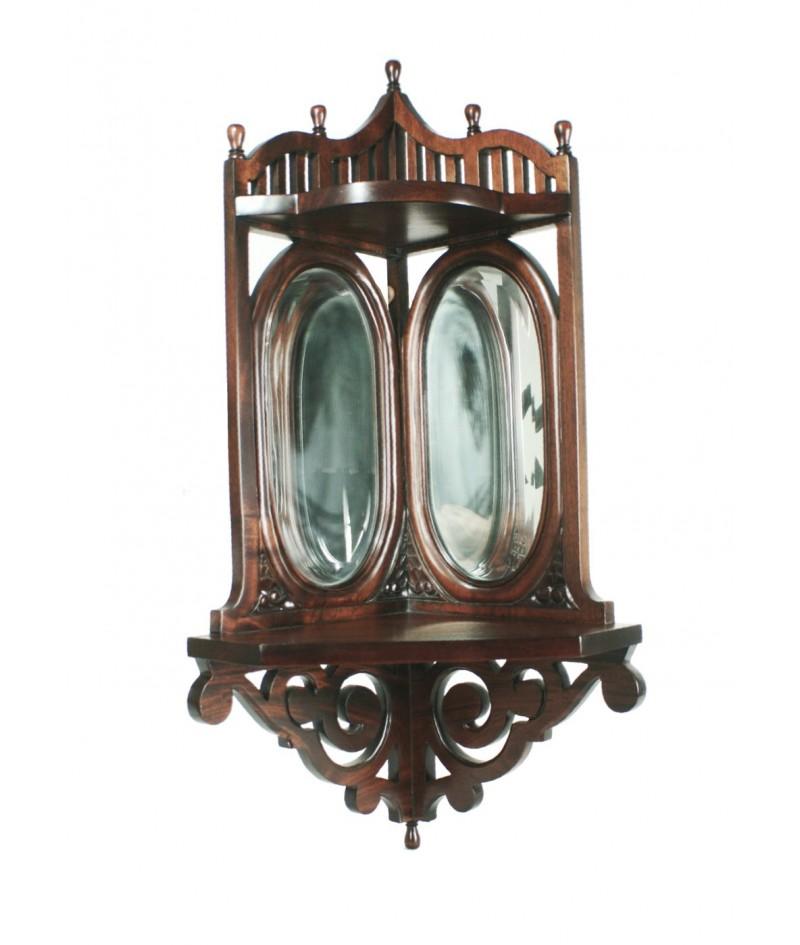 Ménsula para esquina con espejos biselados y de madera de caoba con talla
