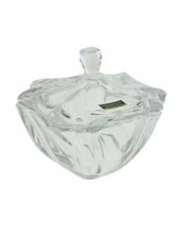 Bombonera cristal de formas irregulares. Medidas: 12xØ13 cm.
