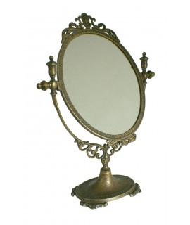 Miroir de vanité de table ovale en laiton antique décor à la maison de style vintage rustique