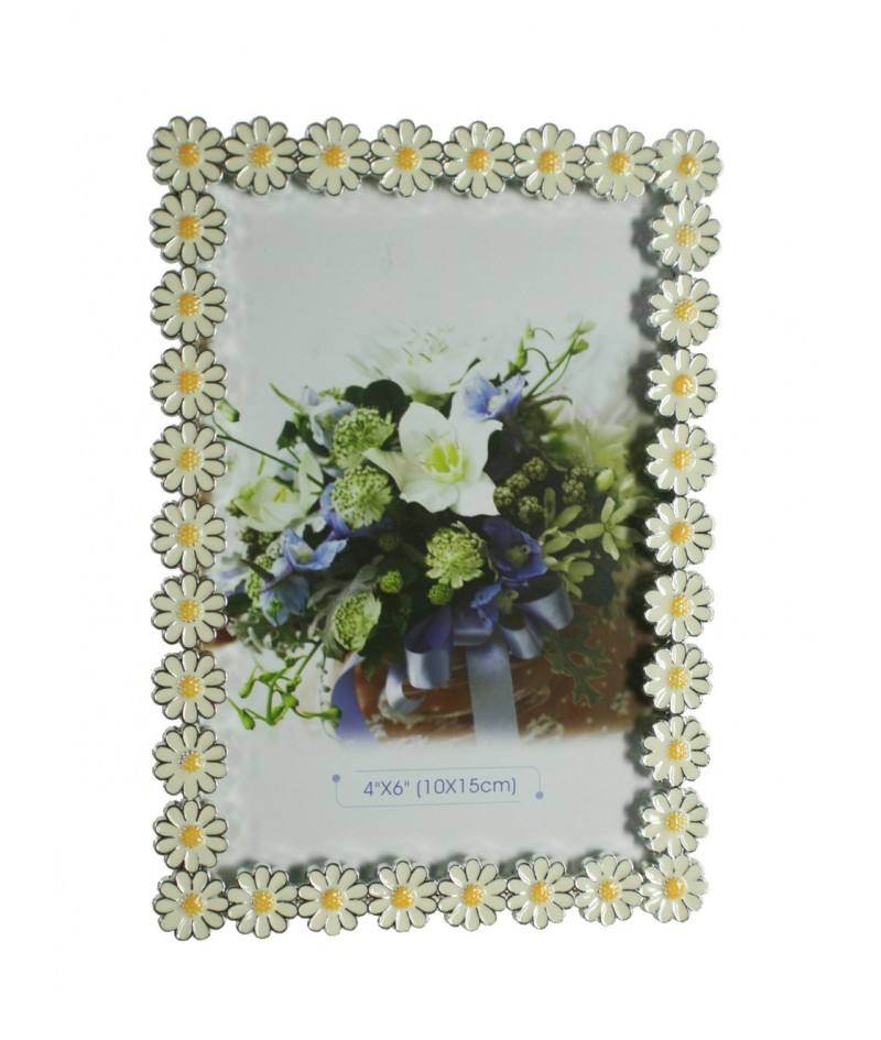 Marco portafotos sobremesa con forma de margaritas esmaltadas decoración hogar vintage tofo de 10x15 cm.