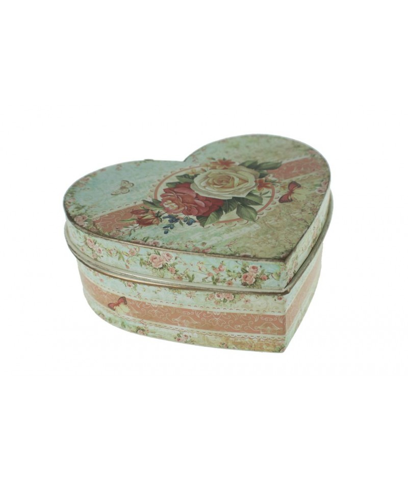 Caja joyero de metal en forma de corazón decorada con flores tonos pastel estilo vintage romántico. Medidas: PQ. 13,5x16x7 cm.