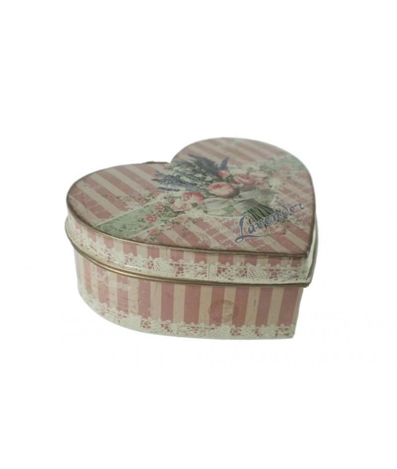 Caja joyero de metal mediana en forma de corazón decorada con flores tonos pastel estilo vintage romántico