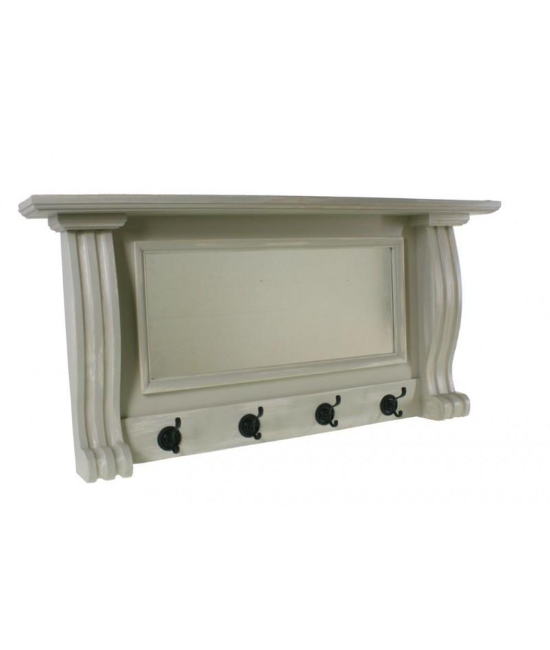 Colgador perchero con estante espejo pared cuatro ganchos madera patinada