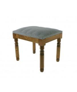 Reposapiés banqueta descalzadora madera tela azul decoración vintage descanso pies