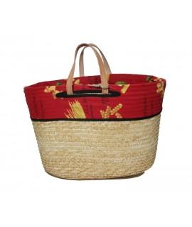 Capazo cesta de compra con asas de cuero y forro interior. Medidas: 31x44 cm.