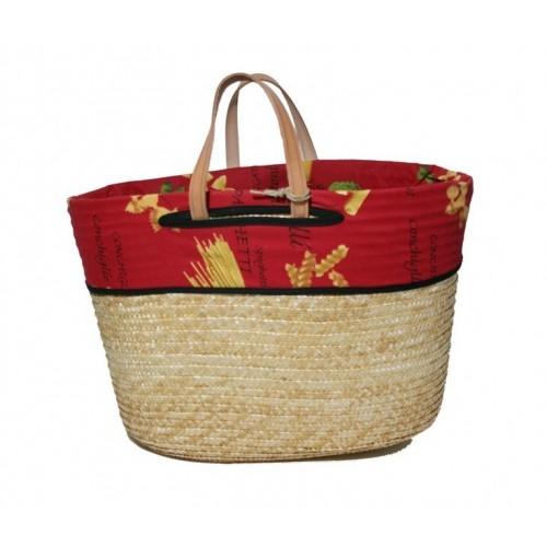 Capazo cesta de compra con asas de cuero y forro interior