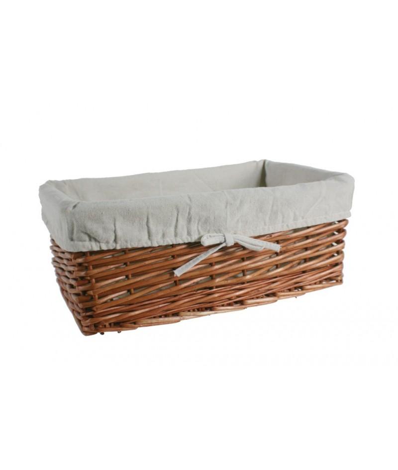 Cuévano cesta de mimbre color miel con forro para almacenaje ordenación y decoración hogar