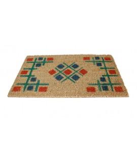 Paillasson en fibre de coco à géométrie multicolore. Dimensions: 40x70 cm.