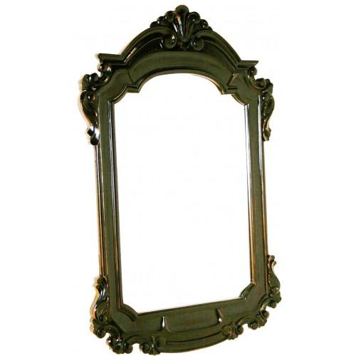 Espejo de madera de caoba tallada color negro estilo vintage