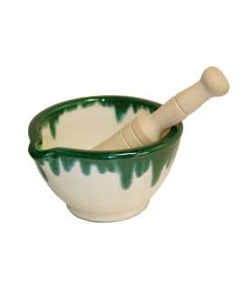 Mortero de cocina de cerámica de arcilla para salsas utensilio de cocina fabricación artesanal. Medidas: 10xØ17 cm.