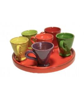 Juego de café de arcilla en colores combinados estilo rustico