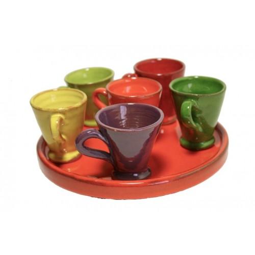 Juego de café de arcilla en colores combinados estilo rustico 6 tazas y bandeja menaje de mesa