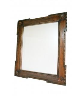Mirall de paret de fusta massissa caoba tallada i vidre bisellat