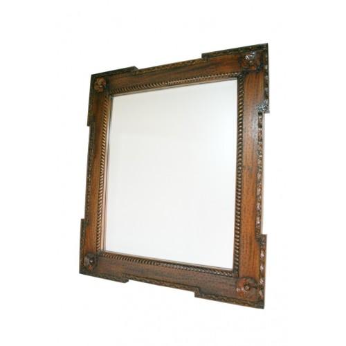 Espejo de pared de madera maciza caoba tallada y cristal biselado