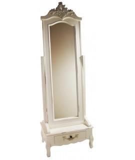 Miroir casier en bois vieilli pied couleur blanche. Total des mesures: 182x61x40 cm.