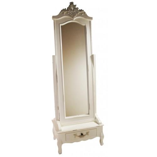 Espejo de pie para vestidor de madera color blanco envejecido vintage