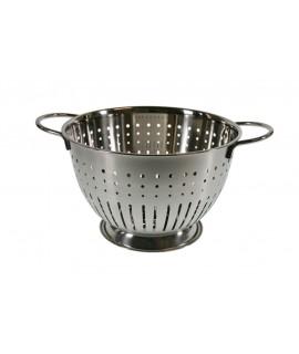 Escurridor colador con base y con asas para sujeción de inox utensilio de cocina. Medidas: 16 x 25Ø cm.