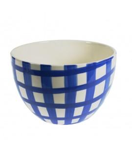 Ensaladera grande de cerámica blanca decorada de color blanco azul estilo vintage servicio de cocina mesa. Medidas: 17xØ26 cm.