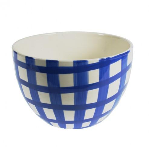 Ensaladera grande de cerámica blanca decorada de color blanco azul estilo vintage servicio de cocina mesa
