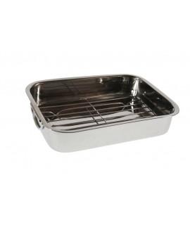Bandeja rectangular para horno microondas con parrilla de acero inoxidable estilo clásico. Medidas: 6x30x20 cm.