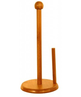 Portarrollos de pie madera bambú para papel de cocina estilo vintage