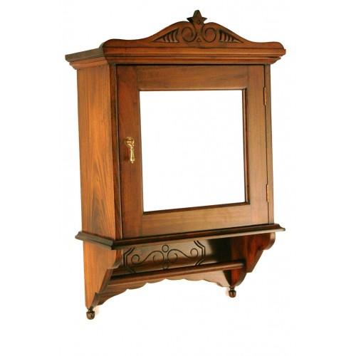 Armario clásico colonial con espejo y colgador de toallas de madera