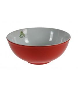 Ensaladera grande de porcelana color roja estilo vintage servicio de cocina mesa. Medidas: 9xØ23 cm.