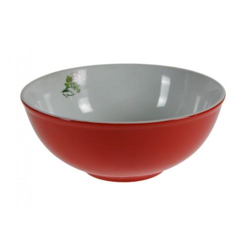 Ensaladera de porcelana grande roja, menaje de cocina