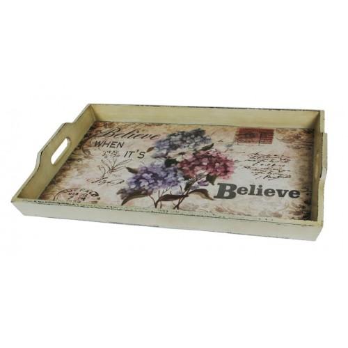 Bandeja de madera decorada con asas tiles cocina - Bandeja de madera ...