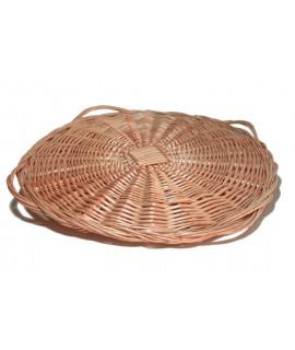 Paellero con asas salvamanteles de mimbre estilo rústico y bajo plato grande para mesa decoración. Medidas: Ø50 cm.