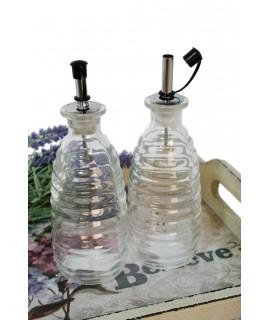 Aceitera-Vinagrera cristal de 270ml. Medidas: 20xØ6 cm.