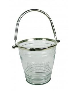 Cubitera vidrio y metal con asa estilo vintage menaje de mesa