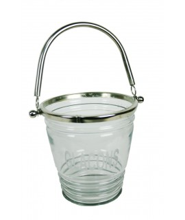 Glaçonera vidre i metall amb nansa estil vintage parament de taula