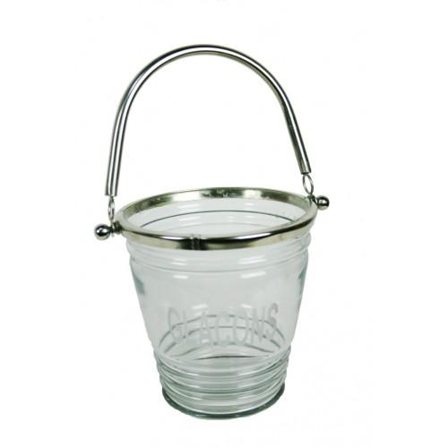 Cubitera vidrio y metal envejecido con asa para hielo estilo vintage menaje de mesa