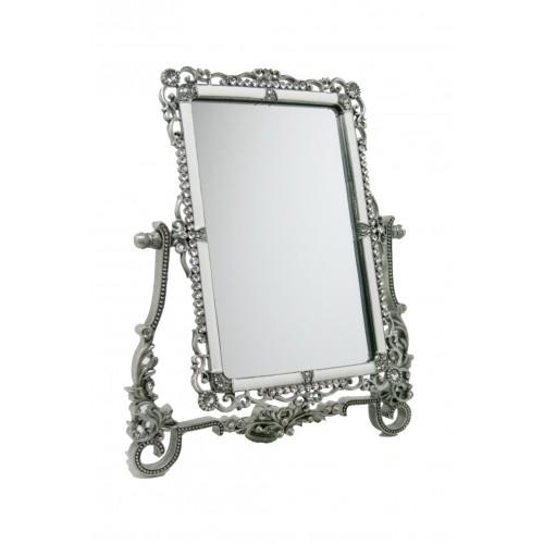 Espejo metal pulido para tocador con pedrería