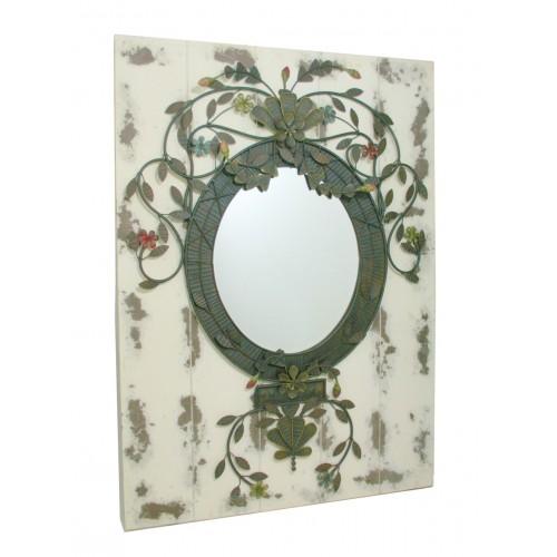 Espejo de pared de madera color blanco y negro vintage